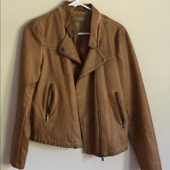 bagatelle Jackets & Blazers - Tan faux leather Moto jacket